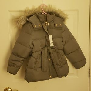 Puffer gray coat with belt and hood Next day deliv